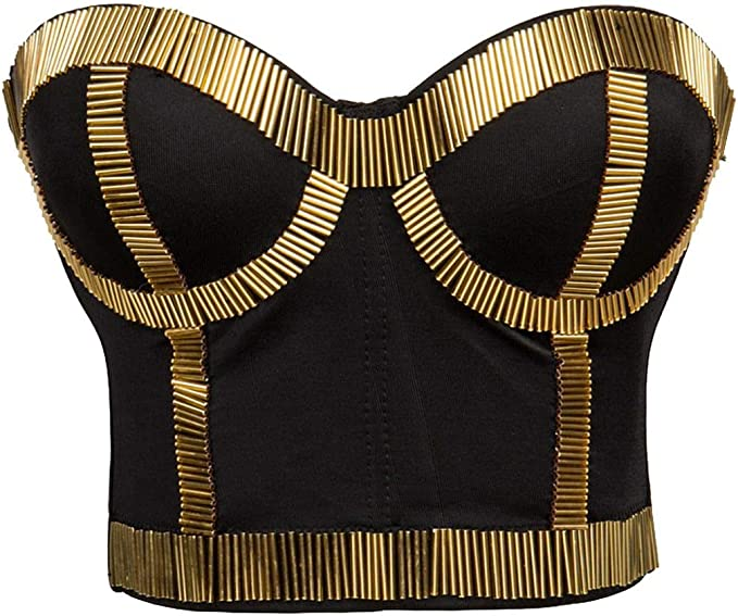 1980s Clothing, Fashion | 80s Style Clothes Alivila.Y Fashion Womens Rhinestone Punk Goth Bra Clubwear Corset Top  AT vintagedancer.com