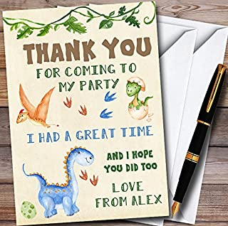 Watercolour Cute Dinosaur Personalized Childrens Birthday Party Thank You Cards