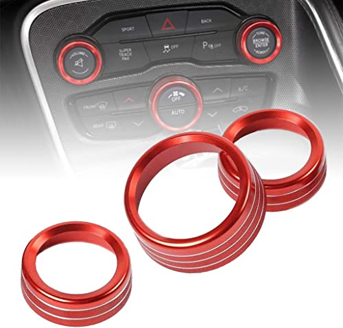 2021 Central Button Knob Cover, Set of 3 Aluminum Alloy Trim Decoration, A/C CD Switch Protection, Replacement for sale 2015-2020 Dodge Challenger online sale Charger, 2013-2018 Ram 1500 2500 3500 (Red) outlet sale