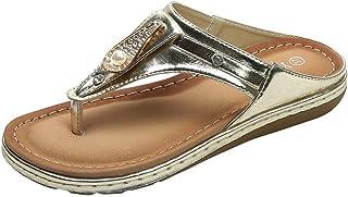 d97779207f9db3 Oliviavane Sandales Plates Ete Femme Compensées Sandals Strass Fashion  Élégant Strass Rétro Plage à Talons Claquettes