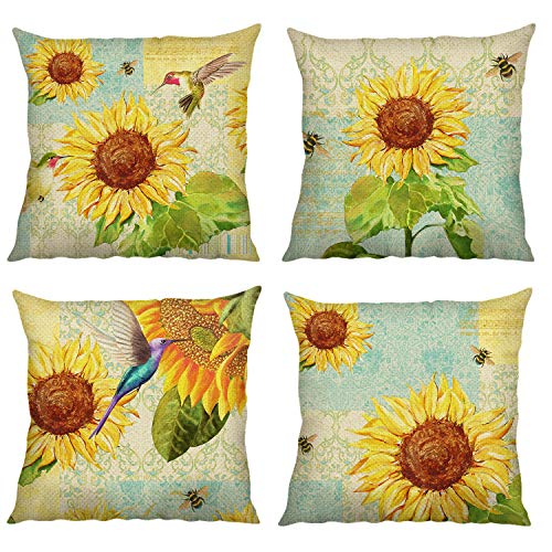 Bonhause Sunflower Cushion Covers 18 x 18 Inch Set of 4 Bird Bees Decorative Throw Pillow Covers Cotton Linen Square Pillowcases for Sofa Couch Car Bedroom Home Décor, 45cm x 45cm