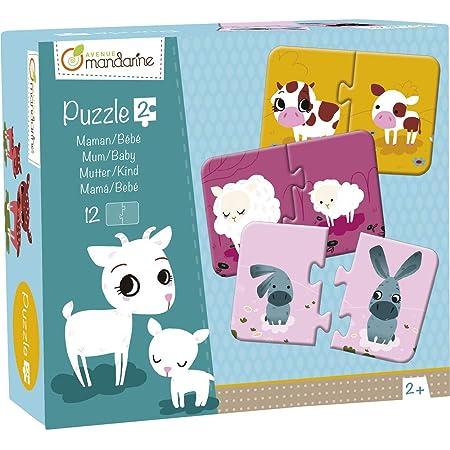 Avenue Mandarine JE502O - Une boite de 12 puzzles 2 pièces Mamans et bébé 8x12 cm à assembler