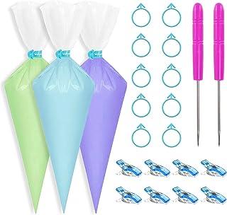 Deamos 122 Pieces Cookie Decorating Tools kit, Include 100 Pieces Piping Pastry Bag, 10 Pieces Pastry Bag Ties, 10 Pieces ...