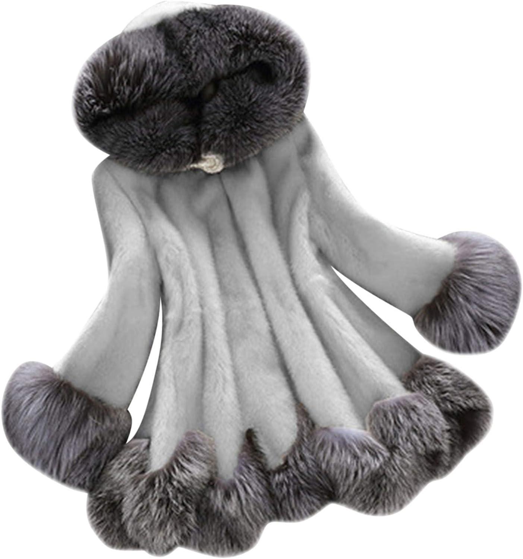 iQKA Women Faux 格安激安 Fur Coat Elegant Cloak Winter Warm Thicked SALENEW大人気! Jacke