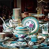 Juego de platos de cena, 84 piezas de vajilla de lujo para 10, chino Royal Palace High,end Dinner Set esmalte Bone Platos, cuencos y ollas, para banquetes, bodas, vida cotidiana, cerámica