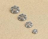 Luoyi Thai Silver Bead Hollow Flower Caps, 7-petal (H010T) (14mm)