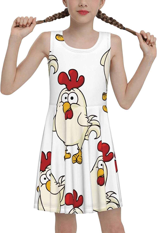 AMRANDOM Girl Cute Summer Casual Round Neck Dresses Beach Tank Dress Sleeveless Sundress