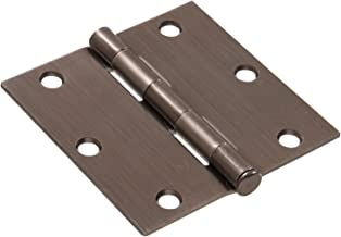 """Hillman Hardware Essentials 851267 Residential Square Corner Door Hinges with Removable Pin Pewter 3"""""""