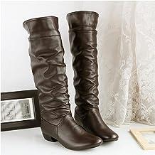 High-top ridder laarzen, lage hak hoge laarzen ronde neus dikke hak ridder laarzen dames laarzen outdoor wandel boot,Brown-42