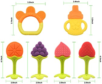 Baby Teething Toys for Newborn Infants (6-Pack) Freezer Safe Infant and Toddler Silicone Teethers Soothe Babies Gums,...