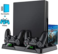 BEBONCOOL PS4 Vertical Stand Cooling Fan, PS4 Slim /Pro Stand Cooler with Dual Controller Charge Station, 16 Game Storage for PS4 Slim / PS4 Pro/Playstation 4