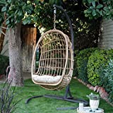 Boho Chic Natural Light Brown Brown Wicker Hanging Egg Chair with...