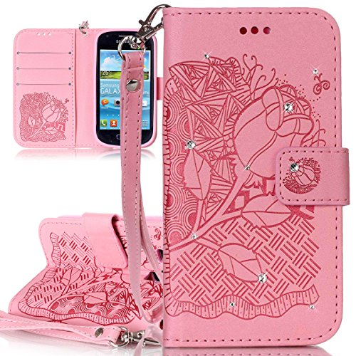 ISAKEN Custoida Samsung S3 Mini, Flip Cover per Samsung Galaxy S3 Mini con Strap, Inlaid Bling Diamante Cover in PU Pelle Flip Portafoglio Wallet Caso con Supporto di Stand/Carte Slot - Rose:Rosa