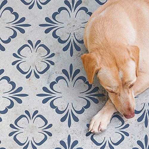 STENCILIT Plantilla de azulejos Egeo para pintar pisos, reposicionable para azulejos de 40,6 x 40,6 cm, plantillas grandes para pintar hormigón, plantillas de azulejos para pintar suelos
