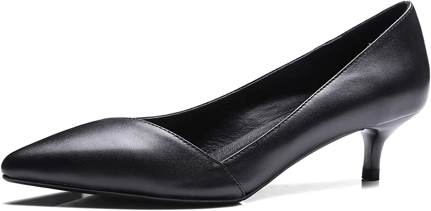 HEETIST Women's Low Kitten Heel Pointed Close Toe Pumps Office Party Mary Jane shoes Slip On