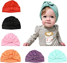 Baby Hat 6 Unids Recién Nacido, 100% Algodón Súper Suave, Elastico Stretch Head Wrap Infantil Turbante Niño Bebé Nudo Diadema