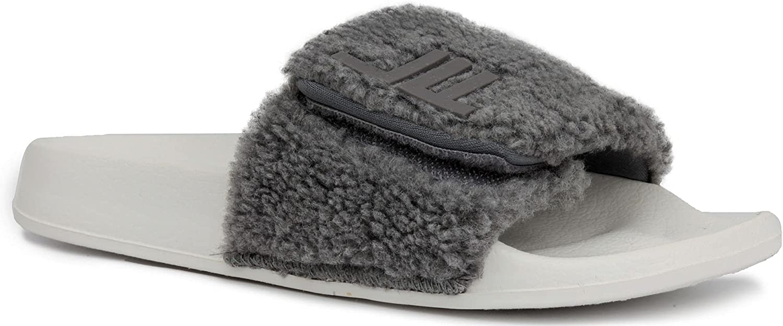 London Fog Womens Scarlett Sherpa Spa Slide Sandals Open Toe House Indoor Outdoor Shoes Sandals