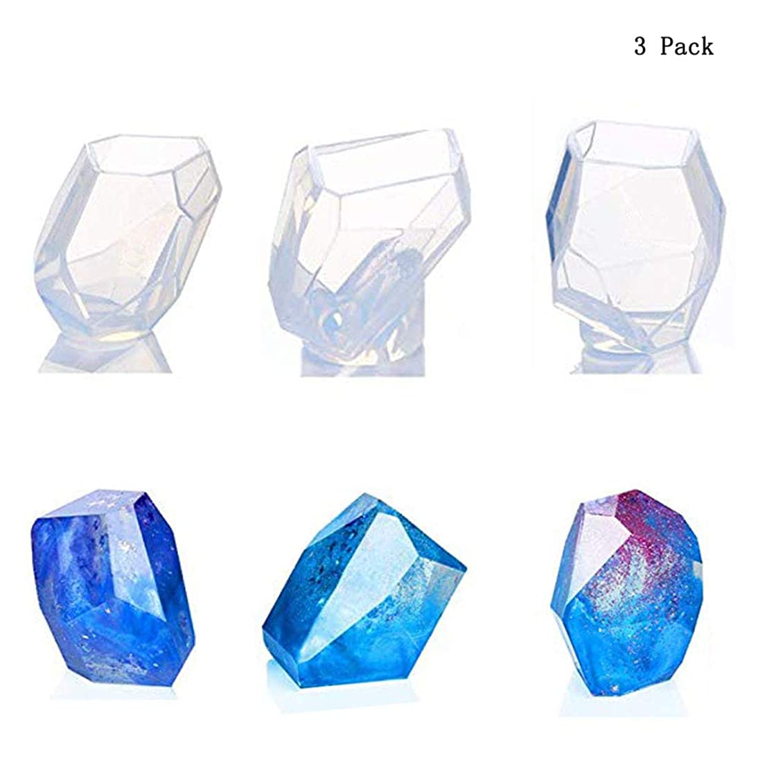 3 Pack Multi-Faceted Silicone Transparent Round Mold, Oneup DIY Resin Diamond Jewelry Casting Molds Making Tool for Polymer Clay, Crafting, Resin Epoxy, Jewelry Making. yhch701495634134