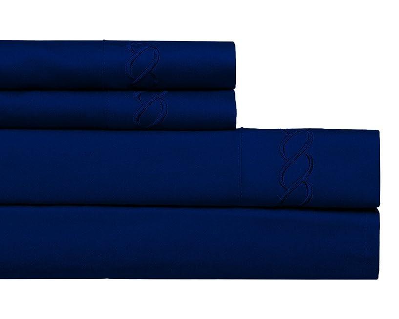 設計チャネル主流Continental Collection 1800シリーズ 刺繍入りシーツ4点セット 深いポケット付き フル ブルー 43237-2