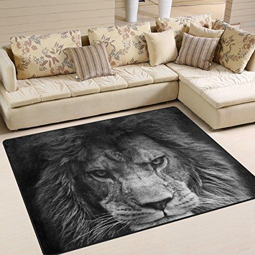 ZZKKO Tapis animal grand format 150 x 200 cm, noir et blanc lion pour chambre à coucher, salon, chambre à coucher, cuisine