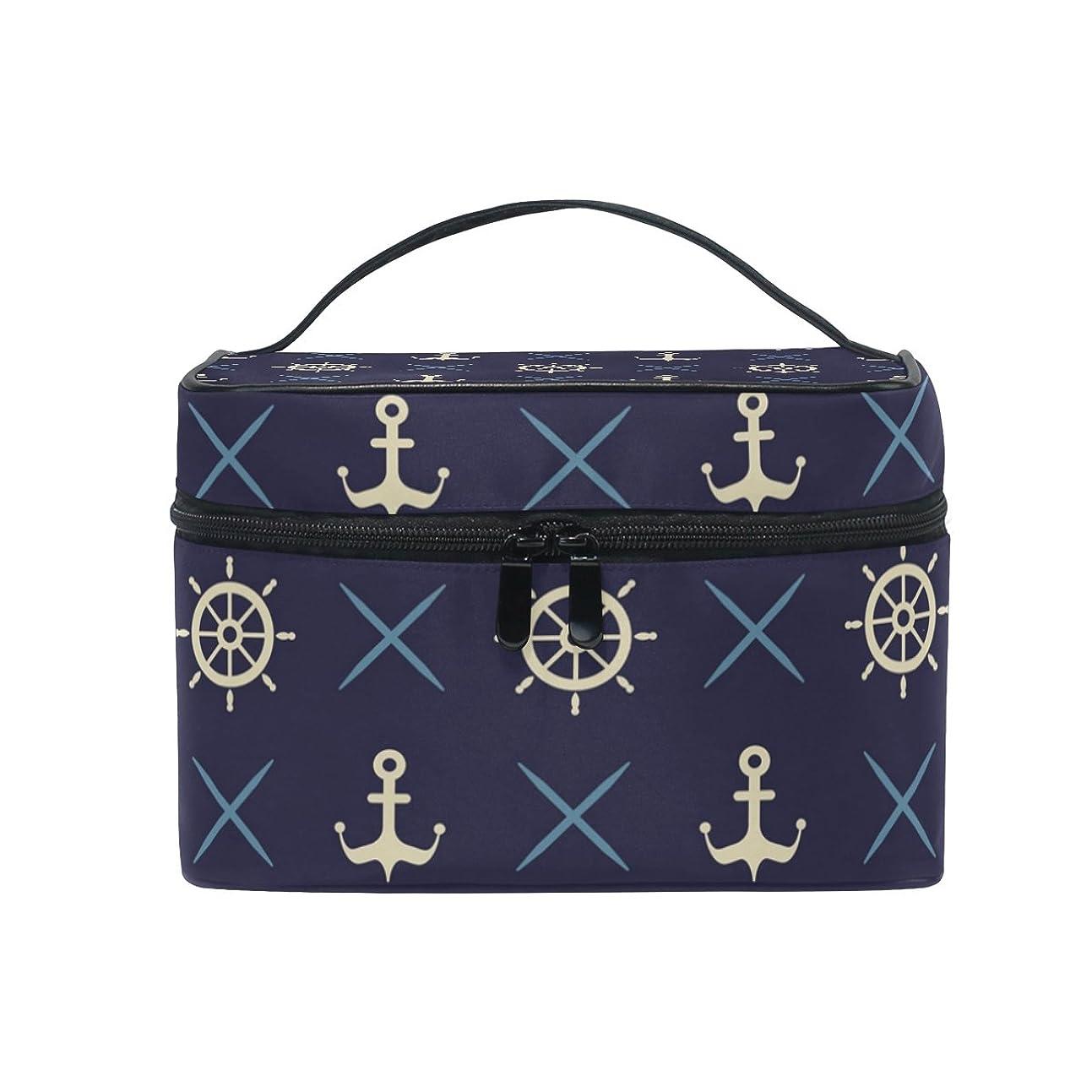 トピック独特の知らせるALAZA 化粧ポーチ 海軍風 セーラー風 化粧 メイクボックス 収納用品 ブラック 大きめ かわいい