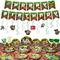 Decorlife Miner Crafting Birthday Party Supplies Serves 16, Cute Gamer Party Decorations for Boys, Complete Pack Includes Tablecloth, Hanging Swirls, Total 142pcs from decorlife