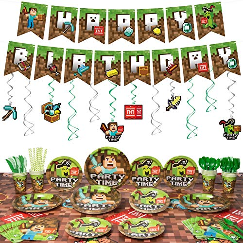 Decorlife Miner Crafting Birthday Party Supplies Serves 16, Cute Gamer Party Decorations for Boys, Complete Pack Includes Tablecloth, Hanging Swirls, Total 142pcs