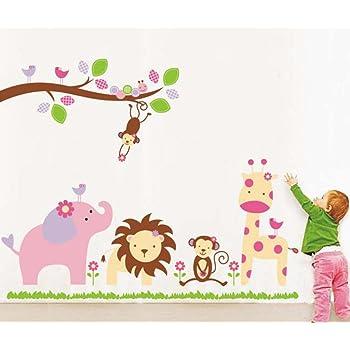 Decals Design StickersKart Wall Stickers Baby Cartoon Animal Kingdom Kids Room (Multicolor)