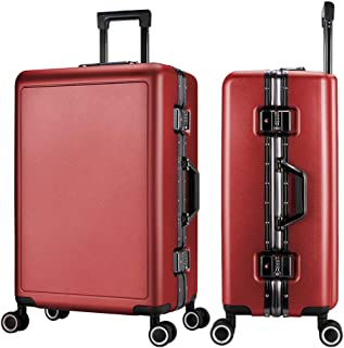 SMLCTY Lightweight Suitcases,hand Luggage Suitcases, Aluminum Frame PC Waterproof and Breathable 4 Round Mute Caster Large Capacity Password Lock Travel Trolley Case (Color : Red, Size : 20 inch)