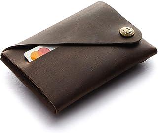Minimalistischer Brieftasche/Kartenhalter aus Leder Wood Brown, Crazy Horse Leder Geldbörse/Kartenhalter, braune schlanke ...