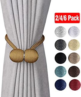 DEZENE Magnetic Curtain Tiebacks,The Most Convenient Drape Tie Backs,2 Pack Decorative Rope Holdback Holder for Big,Wide or Thick Window Drapries,16 Inch Long,Bronze/Golden