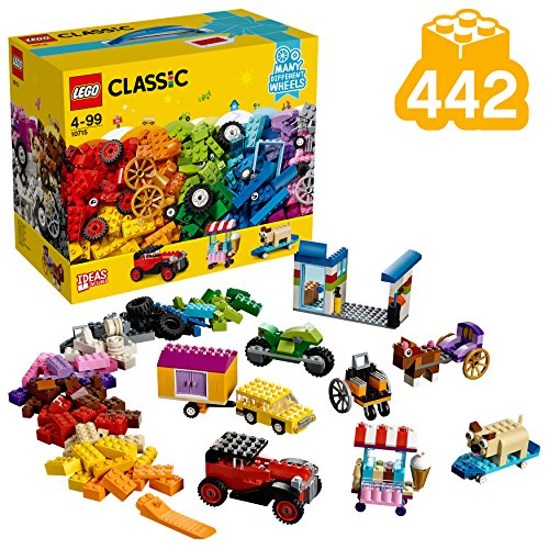 LEGO 10715 Classic Kreativ-Bauset Fahrzeuge, bunte Bausteine, Bauset mit Reifen und Rädern (422 Teile)