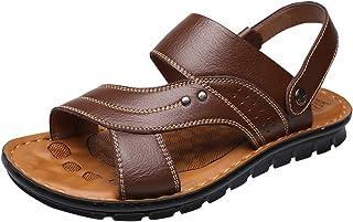 Vocni Men's Open Toe Casual Leather Comfort Shoes Sandals