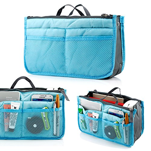 GEARONIC TM Lady Women Travel Insert Organizer Compartment Bag Handbag Purse Large Liner Tidy Bag - Blue