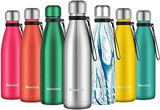 comprar comparacion Newdora Botella de Agua Acero Inoxidable 500ml, Aislamiento de Vacío de Doble Pared, Botellas de Frío/Caliente, con 1 un C...