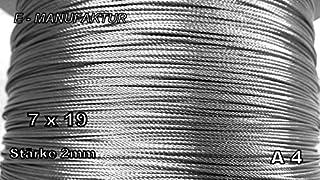1 m roestvrij staal A 4 - draadtouw 7 x 19; zeer flexibel; staalkabel; roestvrij staal; roestvrij; Niro (2 mm)
