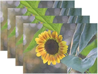 JTMOVING Flora Nature Flower Leaf Garden Sunflower Placemats Set Of 4 Heat Insulation Stain Resistant For Dining Table Durable Non-slip Kitchen Table Place Mats
