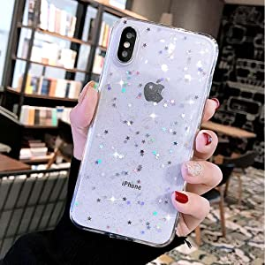 for iPhone 11 Pro Max Case LAPOPNUT Super Cute Bling Glitter Star Crystal Clear Case Ultra Slim Case Chic Flexible TPU Gel Luxury Cover with Back Bumper for iPhone 11 Pro Max, Clear