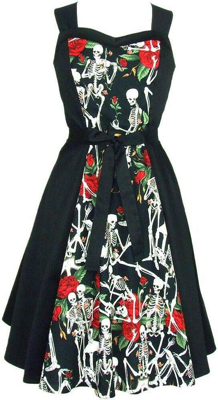 Hemet Women's Skeletons and pinks Full Circle Dress Black