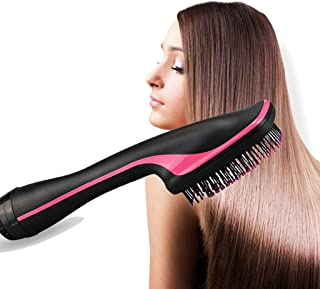 Dry And Wet 2 In 1 Hair Straightener And Curler, Professional Hot Air Comb, Ceramic Barrel Hair Curling Iron Wand Brush