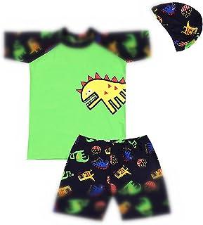 مجموعة ملابس السباحة راش جارد المكونة من قطعتين للأولاد الصغار بدلة سباحة للأطفال الديناصور مع قبعة بعامل حماية من الأشعة ...
