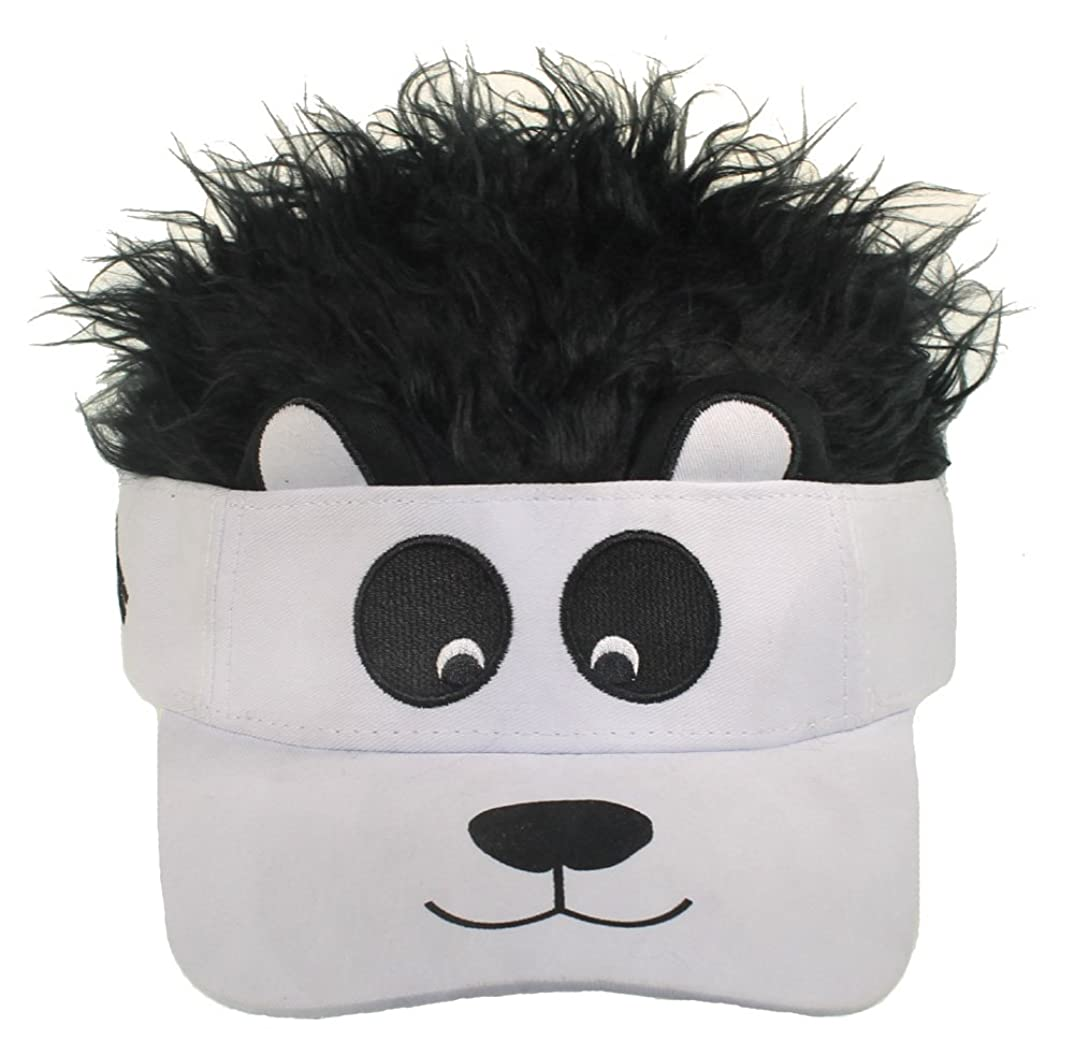 Flair Hair Kid's Cotton Adjustable Visor with Hair Hat Cap (Panda w/Black Hair)