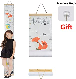 Height Growth Chart Ruler for Kids,Giraffe Height Chart Decal Child Height Wall Sticker Height Measurement Chart Wall Decals for Kids Room Bedroom Living Room Decor (Cute Fox)