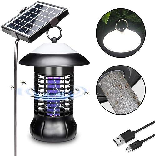 Wdj Lampe Solaire Anti-Moustique à LED, Lampe USB Moustique Solaire Zapper,Lutte Contre Les Insectes Nuisibles, PièGe à Insectes LumièRe De Paysage De Pelouse