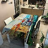 Morbuy Nappe Rectangulaire Nappe de Table Imperméable Lavable et Facile d?Entretien Vintage La Ville Ménage Table Basse Extérieure Nappe pour Picnic Cuisine Jardin (140x140cm,Plaine Portugal)