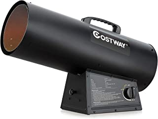 COSTWAY 150000BTU Portable Forced Air Propane Heater, w/ 304 Stainless Steel Combustor, Ideal for Construction Sites Utilities/Farm, Variable Output, Height Adjustable, Black