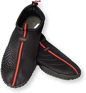 101 BEACH Mens Big Sizes 14-15 Black with Red Trim Aqua Sock Wave Water Shoes - Waterproof Slip-On Style for Pool, Beach, Boating, Water Aerobics and Water Sports