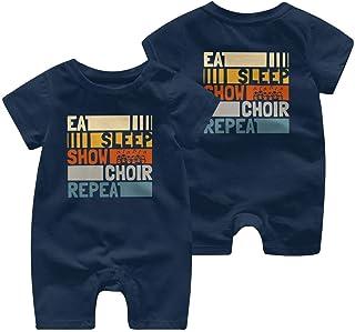 "RROOT Baby-Strampler mit Aufschrift ""Eat Sleep Show Choir Repeat"", kurzärmelig, 0-24 Monate"