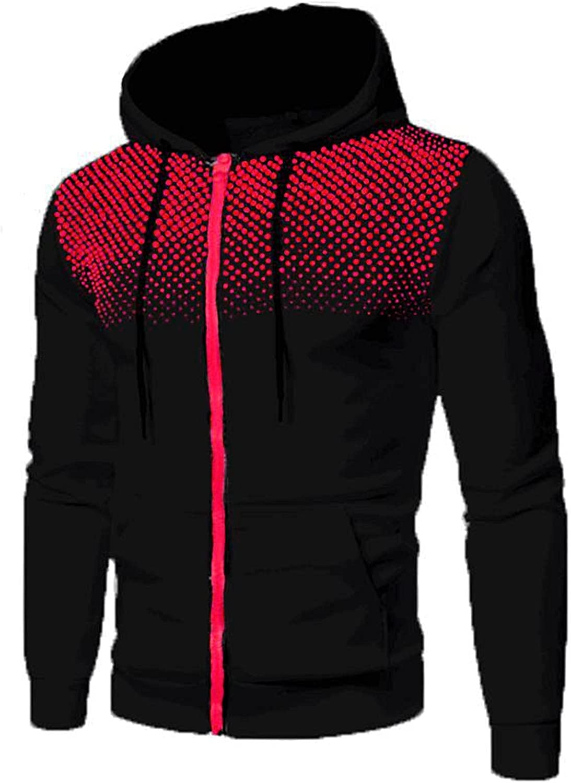 XXBR Mens Zipper Hoodies, Fall Winter Polka Dot Patchwork Drawstring Hooded Sweatshirts Workout Sports Slim Fit Jackets