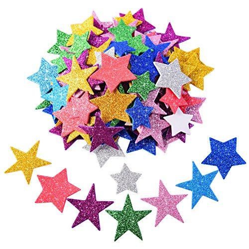 BBTO Glitter Adesivo di Schiuma Autoadesiva Adesivi Stelle per Halloween Natale Festa Decorazione, Colori Assortiti e Taglie, 5 Set